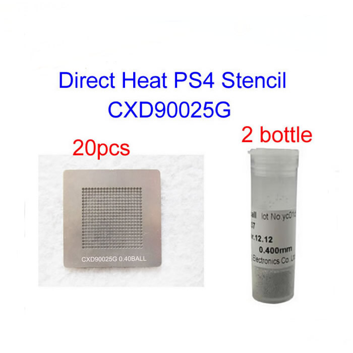 BGA KIT 2pcs Bottles 25K Lead Solder Balls & 20pcs Direct Heat PS4 Stencils (CXD90025G) For BGA Rework Reball  промышленная машина ly 10 bga 0 25 0 3 0 35 0 4 0 45 0 5 0 55 0 6 0 65 0 76 direct heat stencil 10 pcs