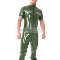 Army Green Male Rubber Latex Bodysuit Handmade Uniform Costume Fashion Latex Garment with Shoulder Board BNLCM109