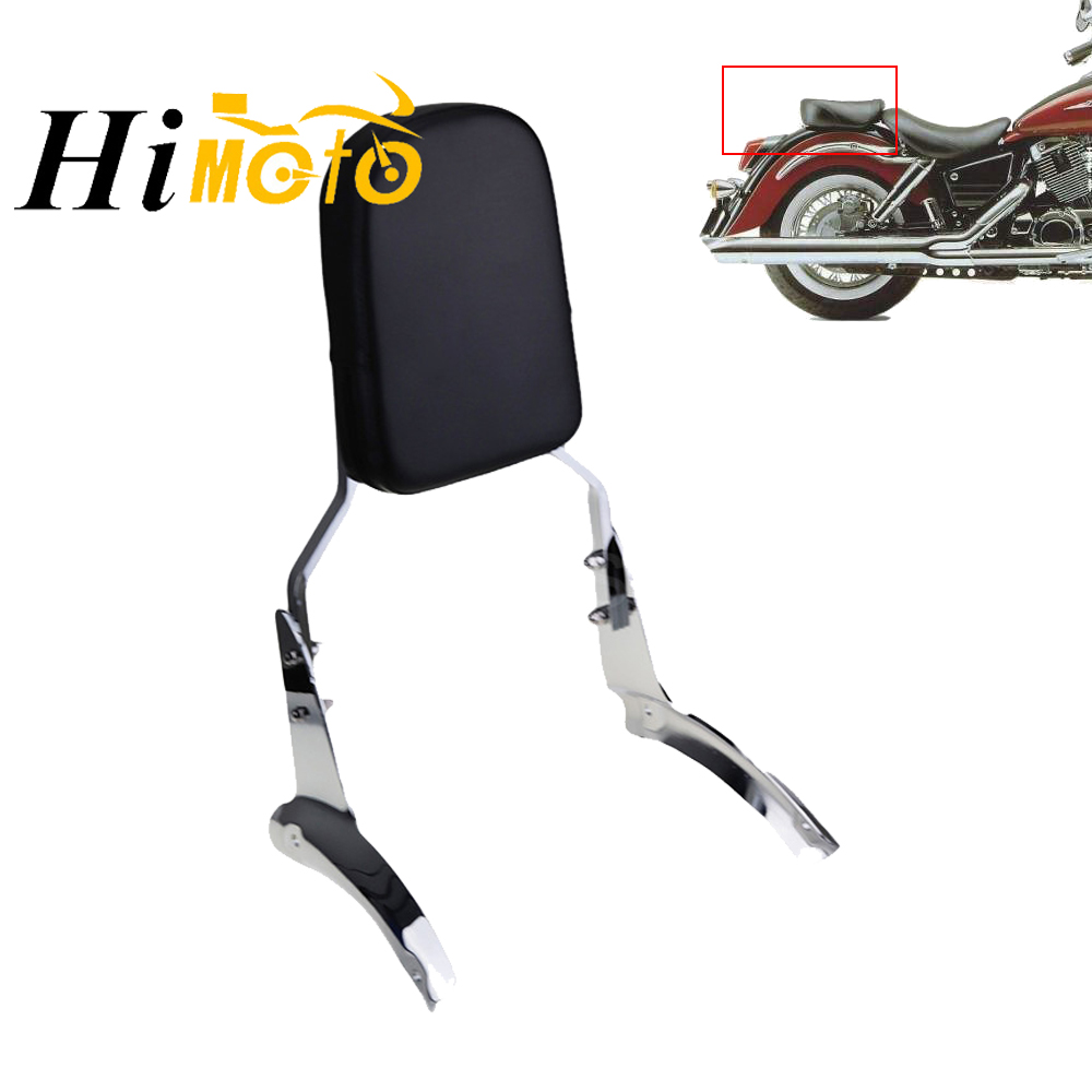 Chrome Black Motorcycle Rear Passenger Pillion Sissy Bar Backrest With Cushion Pad Kit For Honda Shadow