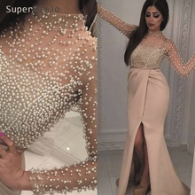 SuperKimJo High Neck 2019 Evening Dresses Long Sleeve Luxury Beaded Arabic Gown for Women Robe De Soiree
