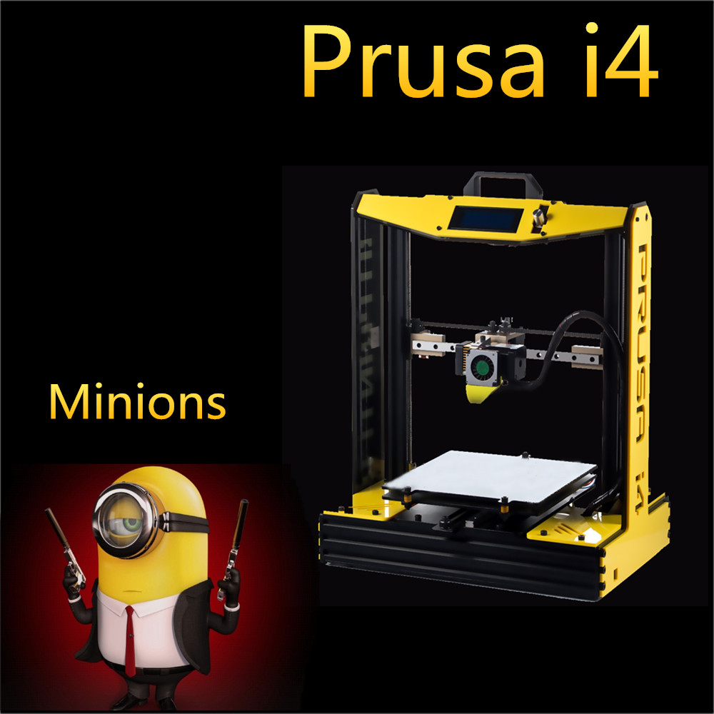 Prix pour En aluminium Haute Précision impresora Prusa i4 3d Imprimante BRICOLAGE Kit Machine Noir Modèle quadro + Lit + Filament Chaude + SD carte