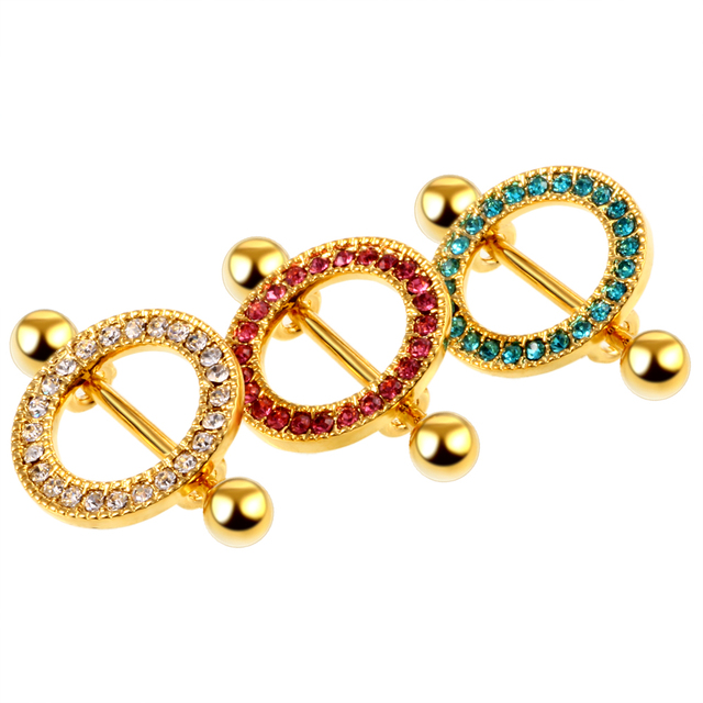 2PCS Steel Sexy Toy Nipple Barbells Gold Bar with Round Gems For