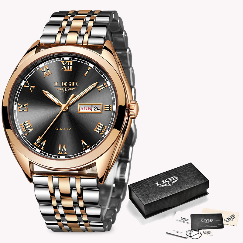 LIGE Fashion Women Watches Ladies Top Brand luxury Waterproof Gold Quartz Watch Women Stainless Steel Date Wear Gift Clock 2019 8