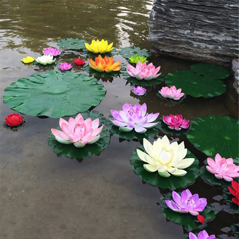 5PCS Artificial Lotus Water Lily Floating Flower Pond Tank Plant leaf Ornament 10cm Home Wedding Garden Pond Pool Decoration