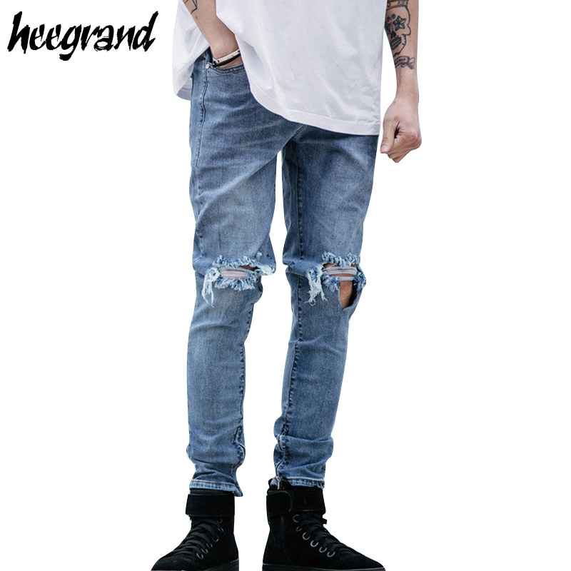 все цены на  HEE GRAND Men Street Jeans 2017 New Design Men's Destroyed Hole Hip Hop Jean Male Casual Zipper Popular Pants Top Quality MKN967  в интернете