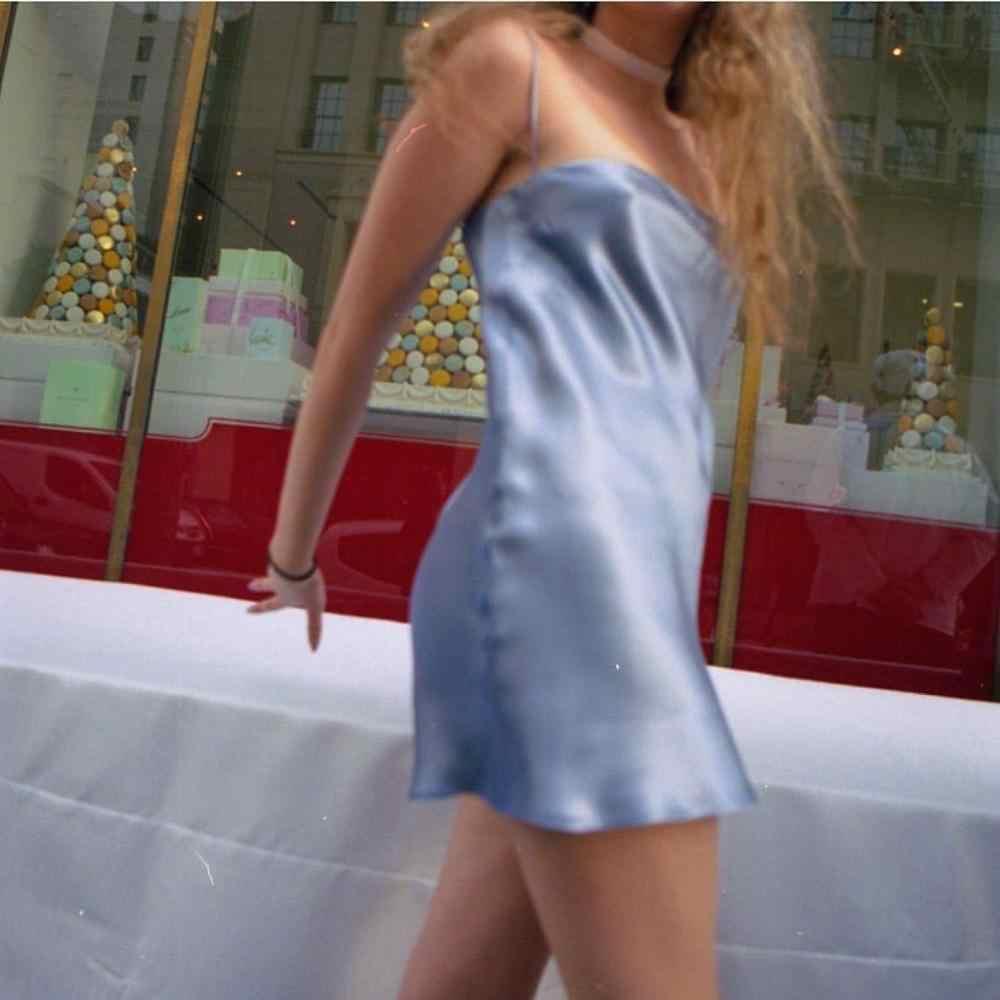Ins Горячее предложение, сексуальное сатиновое тонкое мини-платье для женщин, лето 2019, Харадзюку, на тонких бретелях, сплошные Короткие мини-юбки, сексуальное облегающее платье, Vestido Femme