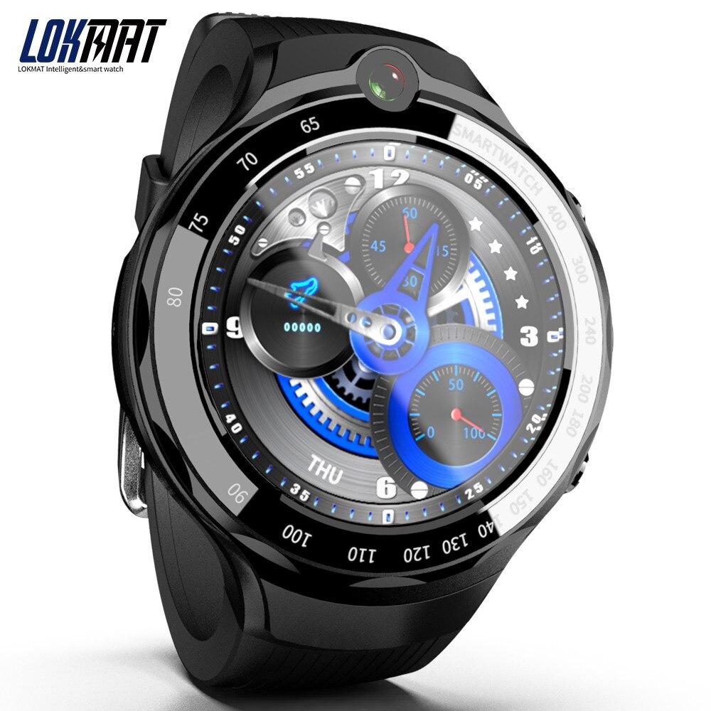 LOKMAT 4G 5mp + 5mp double caméra montre intelligente hommes Android 7.1 MTK6739 1 GB + 16 GB 400*400 AMOLED écran GPS WIFI Smartwatch pour ios
