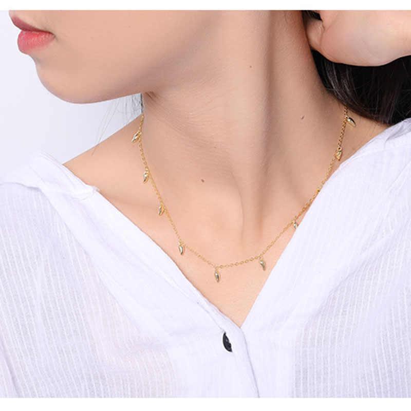 Inzatt Nyata 925 Sterling Silver Minimalis Air Drop Kalung untuk Wanita Elegan Pesta OL Fine Perhiasan Geometris Aksesoris