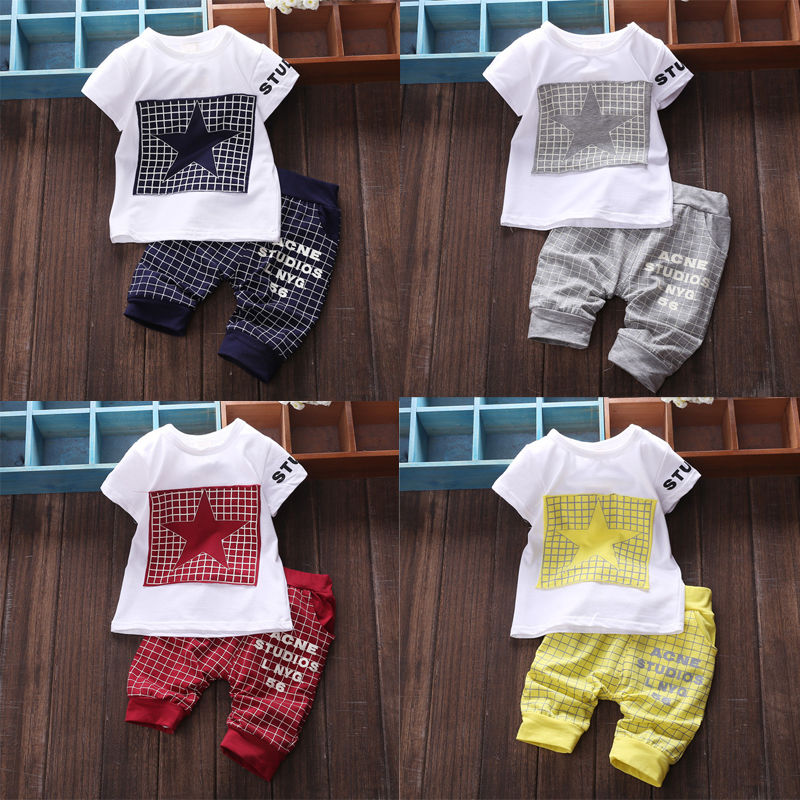 Summer Fashion Kids Clothing Set Baby Boy Kid Girls Clothes Sportswear Short Sleeve T-shirt Top Pants Casual Outfit 2Pcs Set