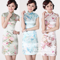 Tang suit cheongsam dress summer fashion silk damask short-sleeve short qipao cheongsam bride fashion improved cheongsam