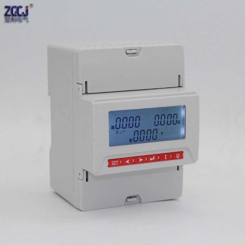 LCD display 3 phase 3 draht, und 3 phase 4 draht din typ 3 phase spannung meter mit 1 relais ausgang für alarm LCD din voltmeter-in Spannungsmesser aus Werkzeug bei AliExpress - 11.11_Doppel-11Tag der Singles 1