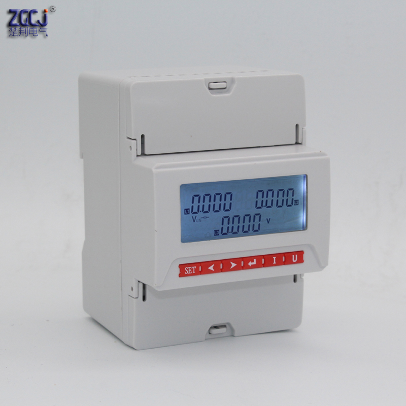 LCD display 3 phase 3 wire , and 3 phase 4 wire din type 3 phase voltage meter with 1 relay output for alarm LCD din voltmeter image