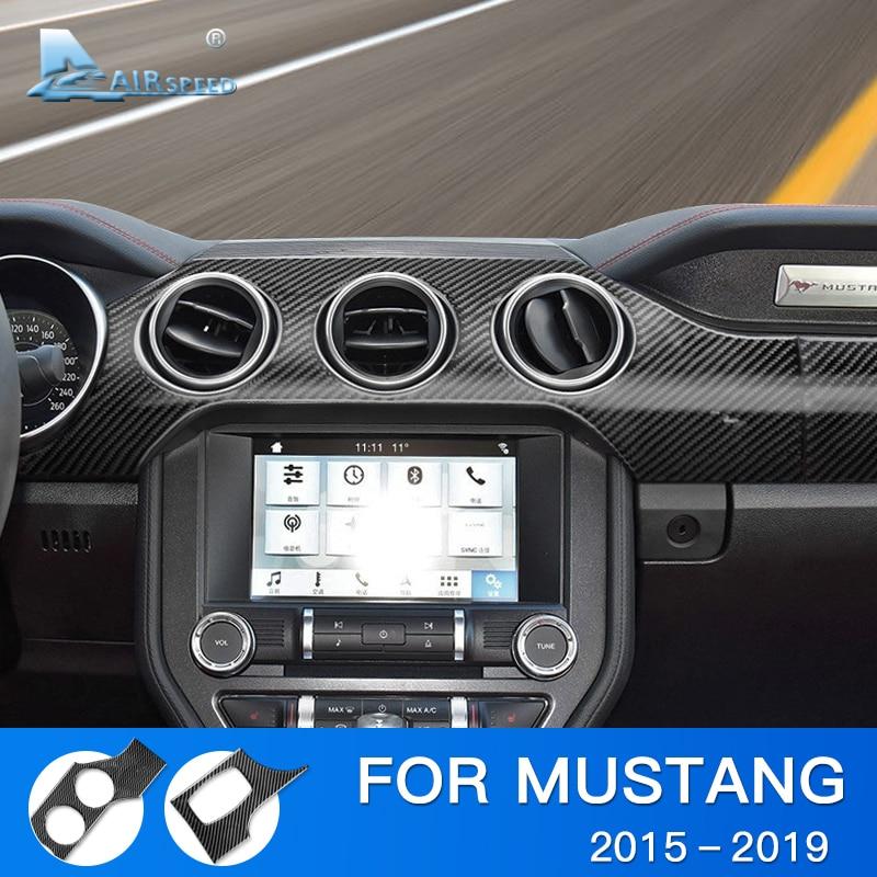 Airspeed pour Ford Mustang accessoires 2015 2016 2017 2018 2019 fibre de carbone voiture tableau de bord tableau de bord autocollant garniture intérieure
