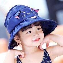 7acb442a6b2 2018 Summer Baby Girls Sun Hat Cotton Baby Hat Kids Child Cap Cartoon Cat  Bucket Hat