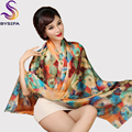 [BYSIFA] Silk Scarf Plus Size Broadened Silk Women's Silk Scarf Shawl Female Scarf New Winter Orange Coffee Women Long Scarves