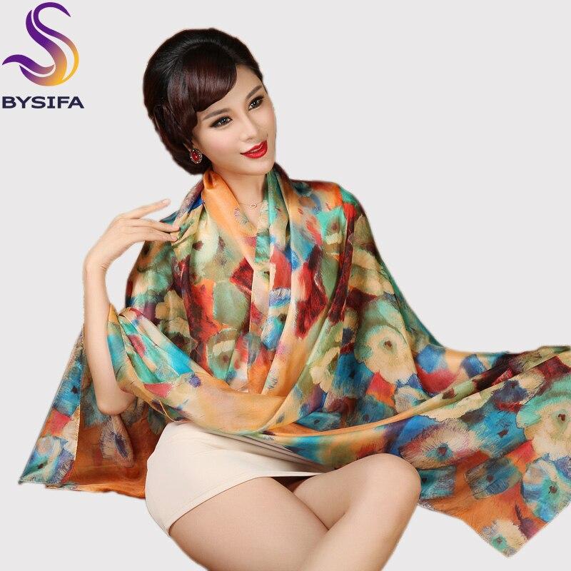 [BYSIFA] foulard en soie grande taille élargi soie femmes foulard en soie châle femme écharpe nouvel hiver Orange café femmes longues écharpes
