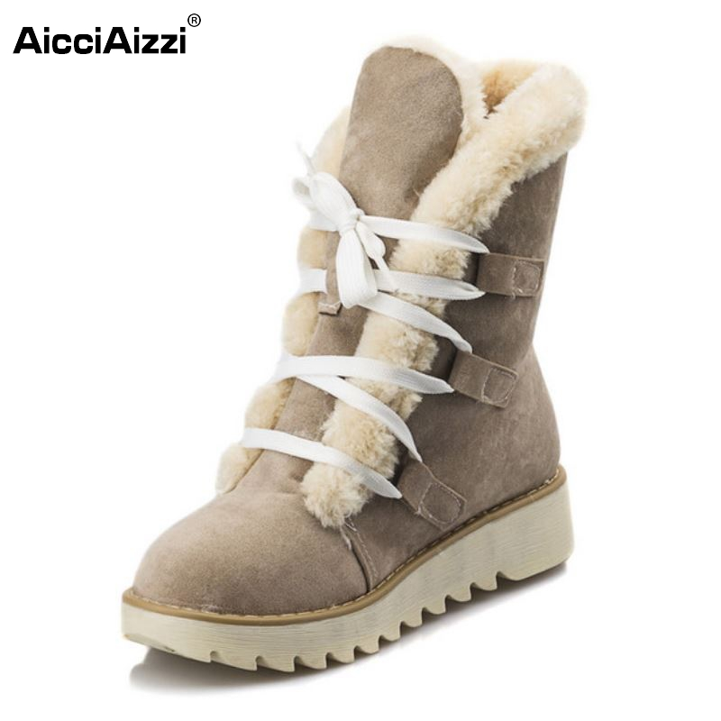 AicciAizzi Size 32-43 Gladiator Snow Boots Women Flats Short Boot Ladies Warm Plush Winter Mid Calf Boots Footwear Shoes Woman odetina 2017 new faux suede mid calf boots with front zipper chunky heel elastic boots thick plush winter warm shoes big size 43