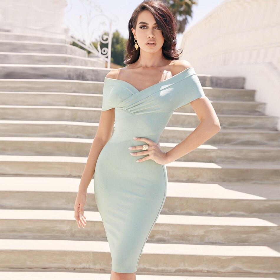 Newest Celebrity Party Bodycon Bandage Dress Women Short Sleeve Off The Shoulder Slash Neck Sexy NightClub Dress Women Vestidos