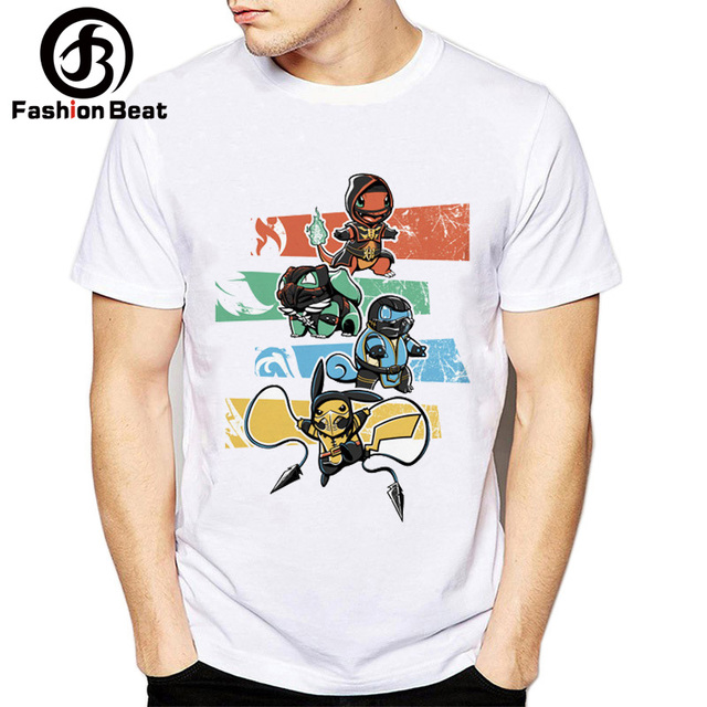8fb043c7e796 Funny Pikachu Costume T Shirts Kombat and Pokemon Creative Design Cute  Bulbasaur Squirtle T Shirt Ninja Men Hipster Casual Tops