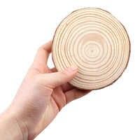 3-12 см толщиной 100 шт натуральные сосновые круглые необработанные деревянные ломтики круги с деревом коры бревна диски DIY ремесла Свадебная ...