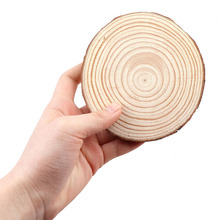 3-12cm Thick 100Pcs Natural Pine Round Unfinished Wood Slices Circles With Tree Bark Log Discs DIY Crafts Wedding Party Painting