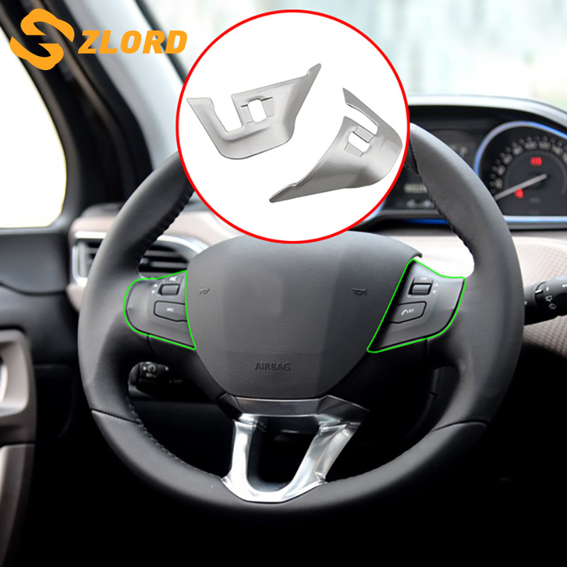 Zlord Steering Wheel Cover Sticker ABS Chrome Trim Accessories Case for Peugeot 2008 2014 2015 2016