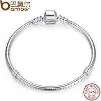 BAMOER Authentic 100 925 Sterling Silver Snake Chain Bangle Bracelet Luxury Jewelry PAS902