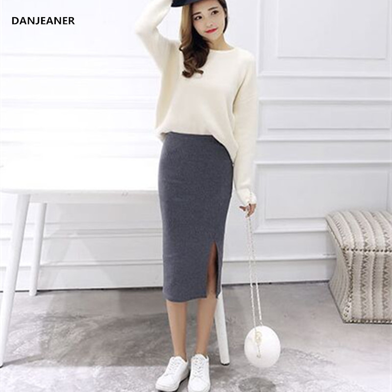 Danjeaner 2018 Jupe Femme Autumn Winter Sexy Split Pencil Skirts High Waist Thick Warm Knitted Skirts Korean Style Women Skirts