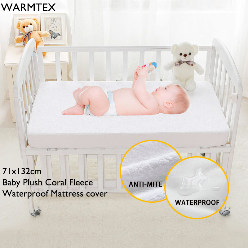 WARMTEX Soft Plush Coral Fleece Anti-mite Bed Mattress Protection Cover Waterproof Mattress Protector Cover For Baby 71X132CM