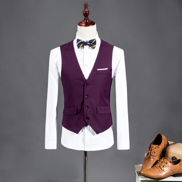 2016 New Men Suit Vest V-neck Slim Fit Fashion Men Vest Casual Solid Color Male Blazer Business Vest 8 Color Size:M-3XL WS847