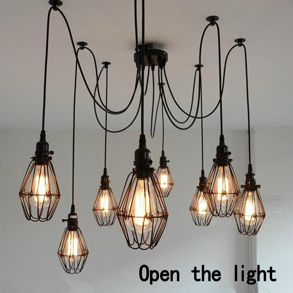 2017 Mordern Nordic Retro Vintage Loft Antique Adjustable DIY E27 Art Spider Pendant Hanging Lamp Home Lighting Fixture Light vintage nordic retro edison bulb light chandelier loft antique adjustable diy e27 art spider pendant lamp home lighting