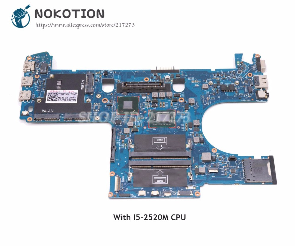 все цены на NOKOTION For Dell Latitude E6220 Laptop Motherboard 0R97MN CN-0R97MN Main Board I5-2520M CPU DDR3 6050A2428801-MB-A01 онлайн