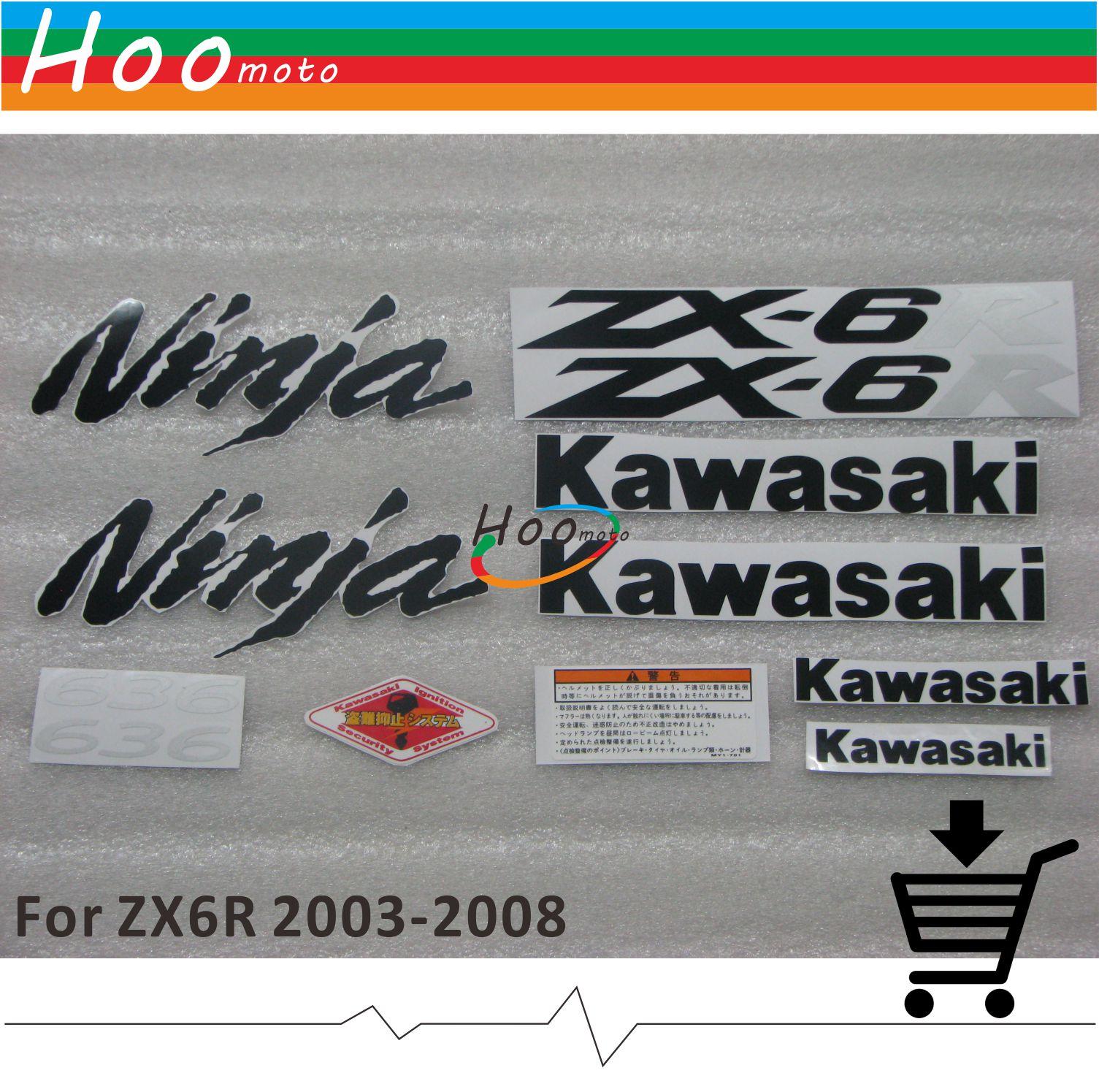 ZX6R 2006 Ninja Full Decals Sticker Graphics Set Kit 636 Motorcycle car For Kawasaki ZX 6R 03 04 05 06 07 08 Sticker Z-QG-K-06A