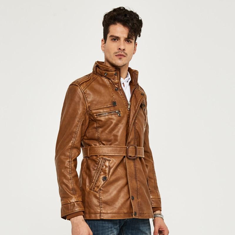 HEE GRAND cuir synthétique polyuréthane pour hommes veste moyen-Long Style nouveauté mode Faux cuir décontracté moto Stand mode manteau MWP218 - 3