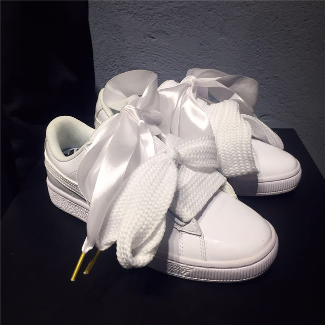 best sneakers 0f217 1586a Puma shoes Puma Basket ribbon bow goddess shoes white women's shoes size  36-39