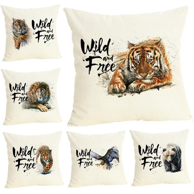 Animals Style Tiger Printed Pillow Cover Linen Decorative Cushion Cover Car Sofa Throw Pillows Home Decoration Pillow Case