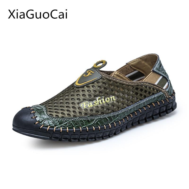 Mocassins Nouveau Slip Cuir Véritable D'été on 35 Casual Voiture Mode Cutanée Étanche Chaussures blue Maille En Xiaguocai L47 Hommes 2017 brown Green De wqIfgf