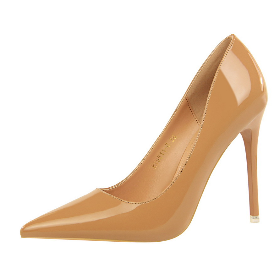 pumps high heels women shoes European style fashion super high patent leather shallow pointed sexy nightclub slim women's shoes 2015 new winter high heels european wild fish head high heels nightclub fine women shoes wome pumps