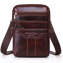 Мужская сумка на ремне из натуральной коровьей кожи, многофункциональная сумка из натуральной кожи с воском, Классическая сумка через плеч...