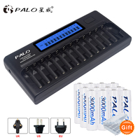 PALO Battery Charger 12 Slots LCD Display Intelligent Charger For AA / AAA NiCd NiMh 1.2V Rechargeable Batteries+12pcs batteries