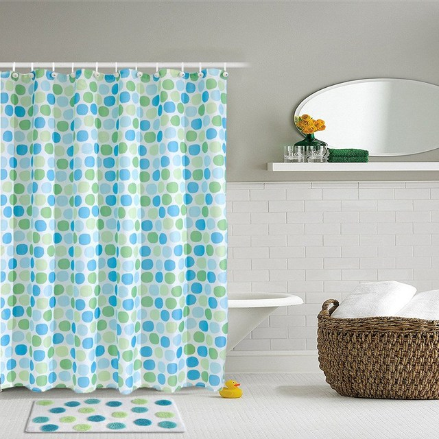 Waterproof Polyester Polka Dots Shower Curtain With 12 Hooks Bath ...