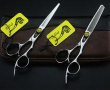 6.0 Inch JAPAN PIPE Professional Barber Scissors Set Hair Cutting Scissors Hair Thinning Scissor 9CR Free Shipping