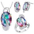Irregular Rainbow Synthetic sterling-silver-jewelry Plated Jewelry Sets Women Drop Earrings/Necklace/Pendant/Ring