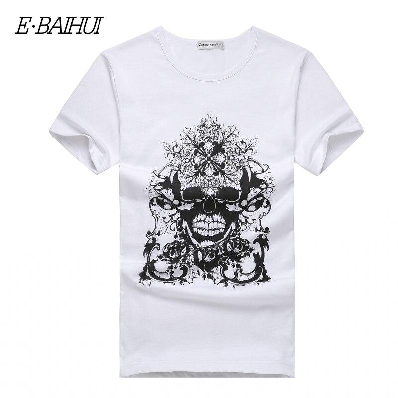 E-BAIHUI Store E-BAIHUI Brand new summer style Cotton men Clothing Male skull t shirt Man T-shirts Casual T-Shirts Swag mens tops tees T001