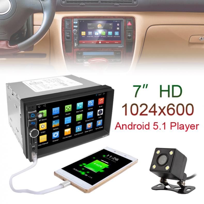 7 inch Car DVD GPS Player Capacitive HD Touch Screen Radio Stereo 8G / 16G Suppot Rear View Camera Input Android 5.1.1 joyous 8 hd capacitive android 4 2 stereo car dvd player w gps navi for vw passat seat skoda