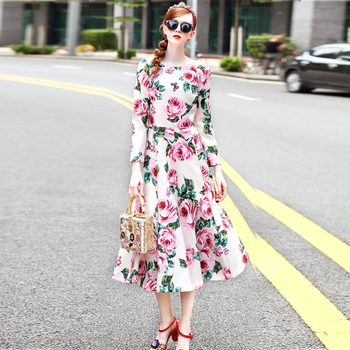 Free Shipping Women Autumn Winter New Plus Size Casual Runway Designer Rose Flower Printing Long A Line Dress Black/Apricot