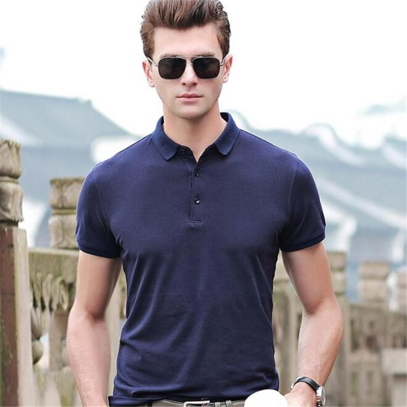 50pcs Men Lapel Collar Tops&Tees High-end Cotton Short Sleeve Shirt Summer Big Yards Smart Casual Classic Gentleman   Polos   Shirts