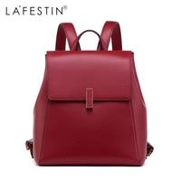 LAFESTIN Backpack Solid Women Lock Style Backpack Split Leather Girls School Bags Back Backpack Mochilas