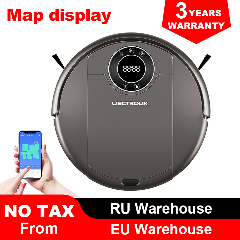 LIECTROUX Robot Vacuum Cleaner ZK808  WiFi App 3000pa Suction  Map Navigation  Smart Memory UV Lamp Wet Dry Mop Brushless Motor|Vacuum Cleaners| |  - title=
