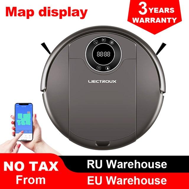 Liectroux 로봇 진공 청소기 zk808, wifi app, 3000pa 흡입, 지도 내비게이션, 스마트 메모리, uv 램프, 습식 드라이 걸레, 브러시리스 모터